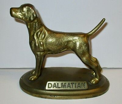 Vintage Brass Dalmatian Dog Statue Figurine On Stand With Name Tag