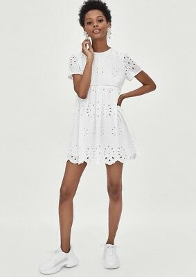 c7a1a6ea83 Zara White Embroidered Playsuit Dress 100% Cotton Size M (8