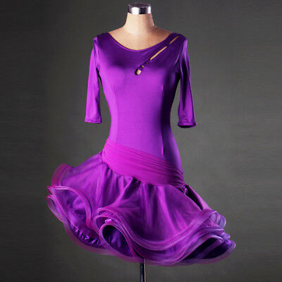Latin Ballroom Dance Dress Modern Salsa Waltz Standard Long Dress#F197 4 Colors
