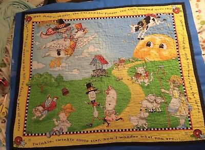 Mary Engelbreit Baby Quilt Blanket Mother Goose Cow Nursery Rhyme 41 × 34