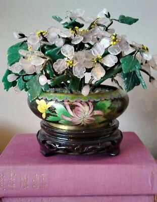 Chinese Jade/Rose Quartz Flowering Plant In Cloisonne Pot With Hardwood Stand