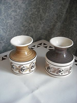 Matching Pair Of Jersey Studio Pottery - Hand Painted Posy Vases- Lovely Design