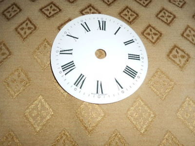 "Round 'West German' Paper Clock Dial-3 1/4"" M/T -Roman - Gloss White-Clock Parts"