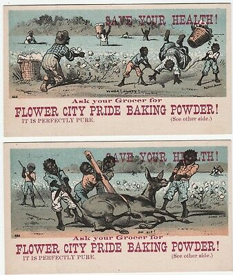 RARE Trade Card SET of 2 Flower City Rochester NY 1880 Black Americana Cotton