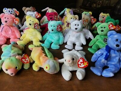 8e4ca668fc9 Large Lot Of 20 Different Ty Beanie Babies Plush Bears With Tags Peace  Rabbits