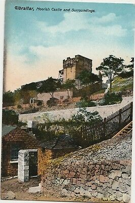1907 Moorish Castle and Surroundings, Gibraltar, coloured Postcard