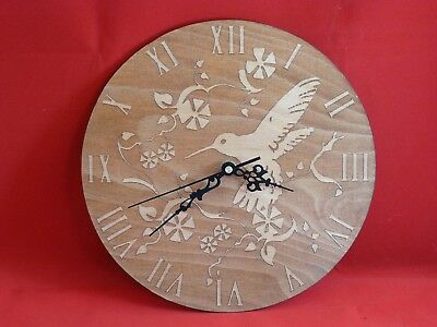 lovely bird and flowers  wooden wall clock great gift ? 25 cm diameter .