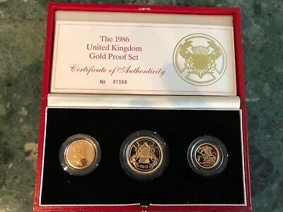 1986 United Kingdom Gold Proof Set-Two Pounds, Sovereign & 1/2 Sovereign - Mint!