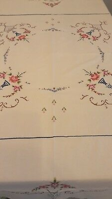"""Vintage Cross Stitch Embroidered Crochet Table Linen Tablecloth Round 63 """""""