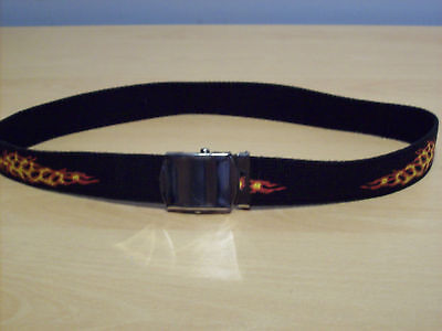 Belt Boys Fabric Custom Flames Effect Ghost Rider Effect  With Shiny Metal Clasp