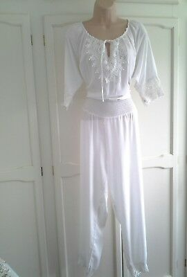 lovely quirky cotton mix jumpsuit,  16 / 18, crochet detail