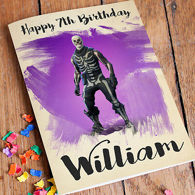 SKULL TROOPER FORTNITE Personalised Birthday Card FREE Shipping