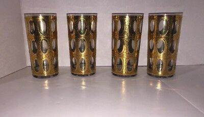 4 Green Gold Crackle Pisa Culver Glasses Water Tall  Mid Century Tumblers Vtg