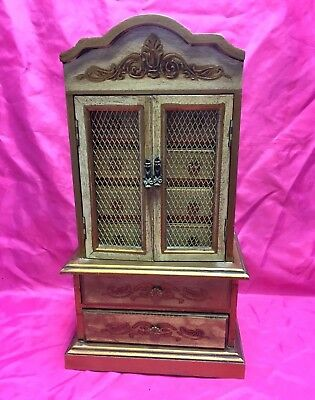 Vintage French Louis XV Style Small Tabletop 2 Doors 6 Drawers Storage, Cabinet
