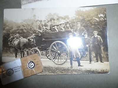social history postcard horses and coach carriage 2 horses real  photograph