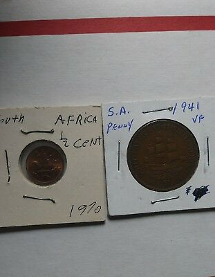South Africa Coin Lot 1941 Penny And 1970 1/2 Cent