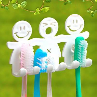 Creative Smile Plastic Toothbrush Holder Rack Shelf Bathroom Kitchen Wall Hook