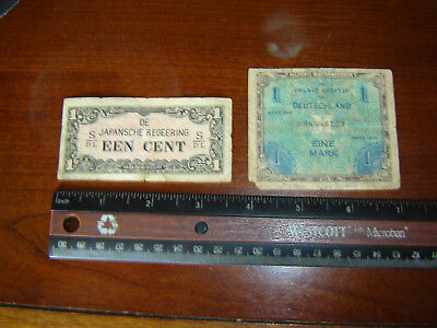 WWII Series 1944 German Military Payment Currency Bank Note Eine 1 Mark Note