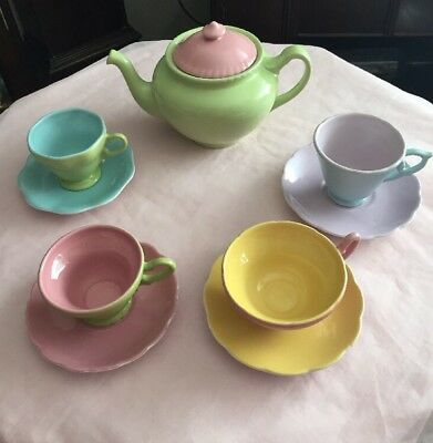 Lovely Vintage Colourful Rosanna Large Teapot With Cups & Saucers