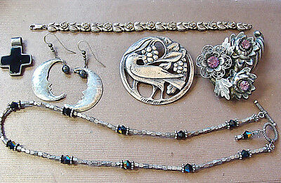 95 Grams Fine Old Sterling Silver Jewelry Lot Scrap Not Good Large Pieces