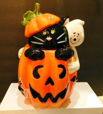David's Cookies Halloween Cookie Jar ~ Pumpkin Ghost Black Cat & Jack O Lantern