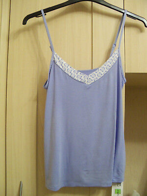 Ladies Cami Top Size 14 Blue Adjustable Straps Sleep Range Marks & Spencer New