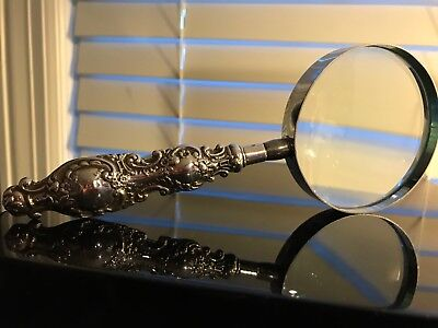 Antique Solid Silver Handled Magnifying Glass REALLY GORGEOUS HANDLE