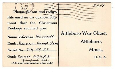 1942 Post Card Receipt for Attleboro MA War Chest Christmas Package to Sailor