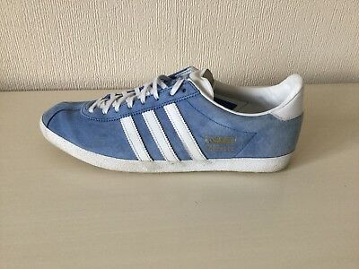 Adidas Gazelle Trainers Uk 10 Blue Suede & White Leather Excellent Condition