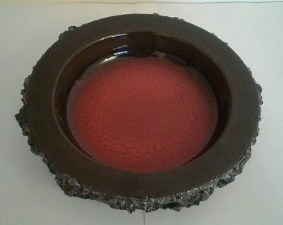 Vintage 1960's 1970's Glit Lava Iceland Art Pottery Dish Red & Brown  Signed Eb