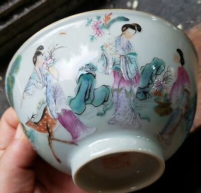 Fine Old Chinese Porcelain Famille Rose Bowl With Figures/ Deer And Mark Qing