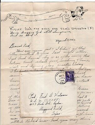 1943 Letter to AAF Airman with Original Caricature Drawing of Hitler as Daschund