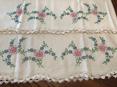 "Vintage Hand Embroidered Floral Pillowcases With Crocheted Edge~21"" X 29 1/2"""