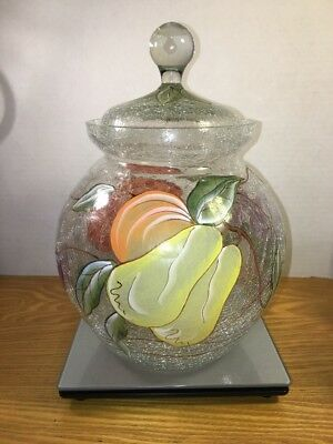 Crackle Glass Cookie/Biscotti Jar with Hand Painted Fruit Decor Gorgeous