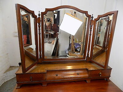 antique,edwardian,inlaid,gallary mirror,3 panel,dressing table,mirror,drawers,