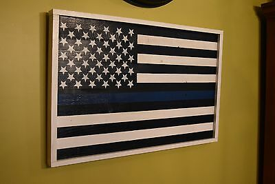 Law enforcement wood flag with blue stripe