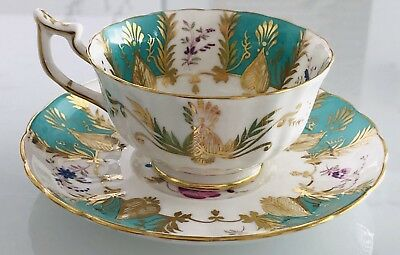Royal Chelsea Bone China Cup And Saucer Pink Roses Teal Blue