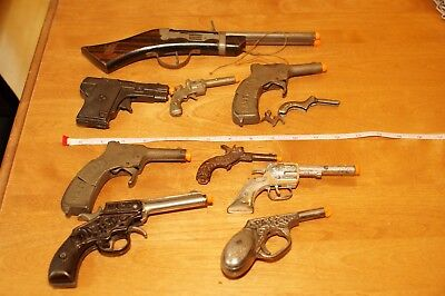 Lot- Antique  Toy Guns - Most Cap And Cast Iron -  Look!