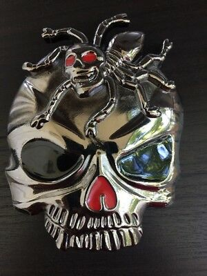 BELT BUCKLE Skull Spider ABALONE SILVER Bull Belt MEN WOMEN