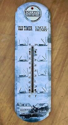 "Schrade Knives and Tools Old Timer Uncle Henry Metal 17.25"" Thermometer Sign"