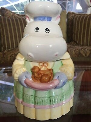 Vintage Montgomery Ward Mrs. Hippo With Bird Cookie Jar - Good Condition