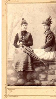 Antique Cabinet Photo Of 2 Ladies In Their Hats  (Lot N)