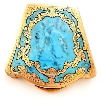 Antique Gorgeous Florence Italy Large Gold Wash Powder Compact Turquoise Inlay.