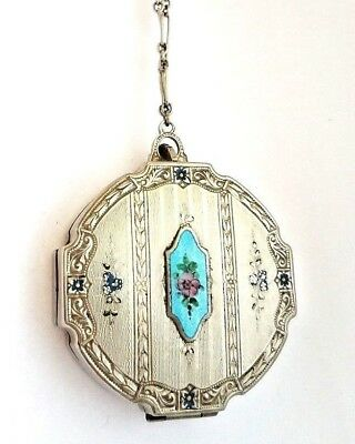 Vintage Silver Vanity Compact with Hand Painted Flowers & Blue Guilloche Inset.