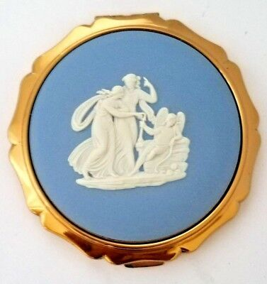 Vintage Stratton Light Blue Wedgwood Powder Compact with White Cameo Lid.