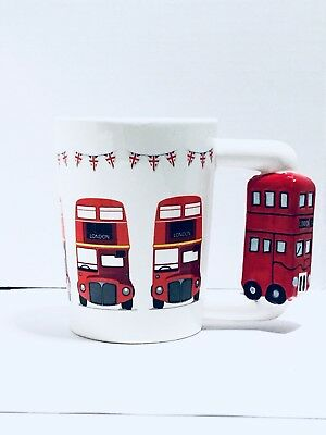 LONDON ENGLAND 3D Handle Mug! Red and White Double-Decker Bus Very Unique!