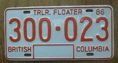 British Columbia 1986 All Embossed Trailer Floater License Plate 300 ~ 023