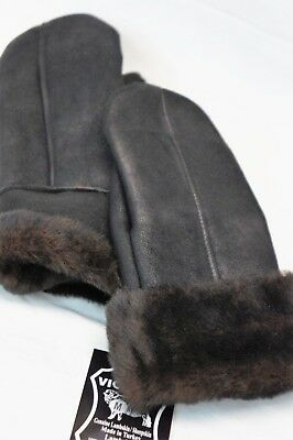 Real Genuine Sheepskin Shearling Leather Mittens Unisex Black / Dark Brown S-2Xl