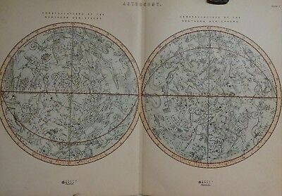 c 1899 Antique Astronomy Map of Constellations Northern & Southern Hemisphere