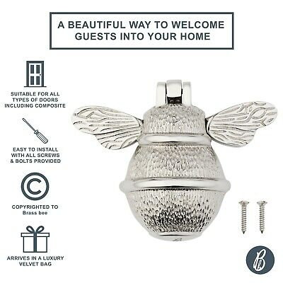 Solid Brass Bumble Bee Door Knocker  - Antique Vintage Country Nickel Plated